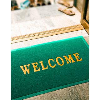 Sweet Home 100% Nonslippry Pack Of 2 Welcome Door Mat - Green