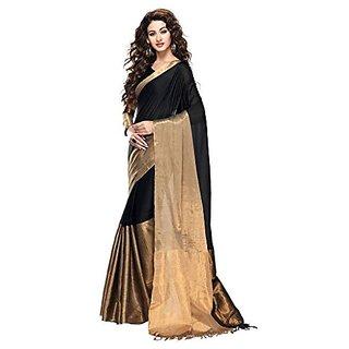 Royal Fashion New Latest Designer Black Cotton Silk Saree