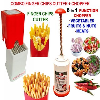 COMBO FINGER POTATO CHIPS CUTTER FRENCH FRIES +  FOOD  CHOPPER