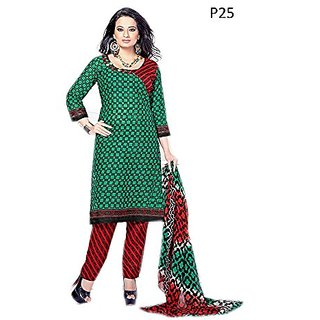 Royal Fashion New Latest Designer Ptinted Green Color Straight Cut Un-Stitched Dress Material.