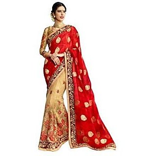 Royal Fashion DESIGNER Beige GEORGETTE SAREE WITH BLOUSE PIECE