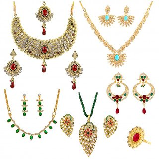 Touchstone Multicolour Traditional Combo Of Three Necklace Set  One Pendant Set  One Pair Earrings  One Finger Ring