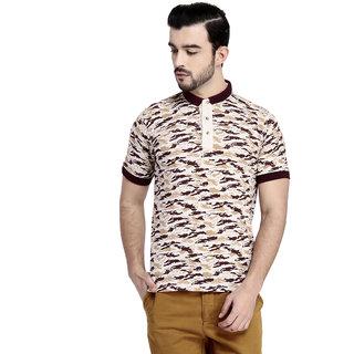 TAB91 Beige Slim Fit Polo T Shirt
