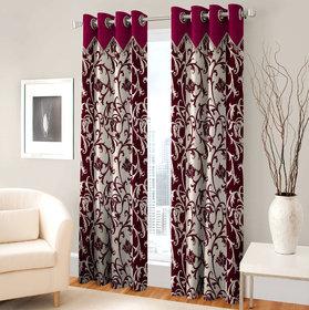 Fashion Fab Single Piece Long Door Eyelet Maroon Fancy Printed Curtains