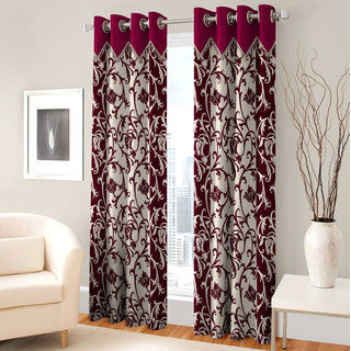Angel home Single Piece Long Door Eyelet Maroon Fancy Printed Curtains