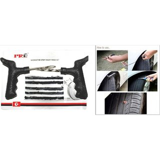 Pro Car Bike Tubeless Tyre Puncture Repair Kit With 5 Rubber Strips