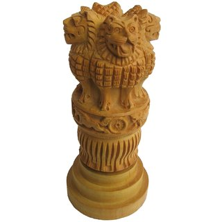 Wood Ashoka Pillar Handmade with animal Carvings