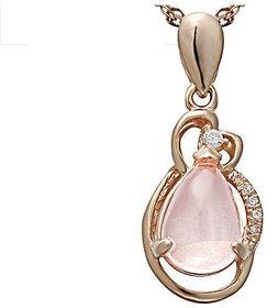 Karat Square S925 Rose Gold Plated Nickle Free Crystal Pendant