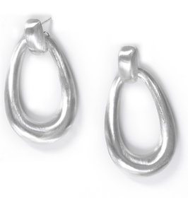 Verra Large Open Oval Sterling Silver Earrings
