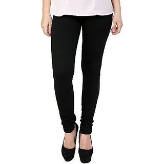 Women's Cotton Blended Churidar Leggings - Black ( Free Size )