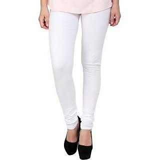 Women's Cotton Blended Churidar Leggings - White