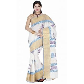 Fashionkiosks Multicolor Cotton Block Print Saree With Blouse