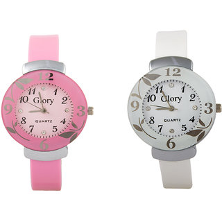 Glory Combo Of Two-Baby Pink And White Glory Circular Dial Watch For Women by 7Star