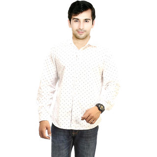 Knight Riders Men's White Slim fit Casual Poly-Cotton Shirt
