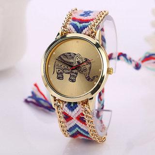 7Star Elephant dial gold dress watch Quarzt Watch Handmade Braided Friendship Bracelet