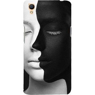 3D Designer Back Cover For Oppo A37 :: Black And White Face :: Oppo A37  Designer Hard Plastic Case (Eagle-216)