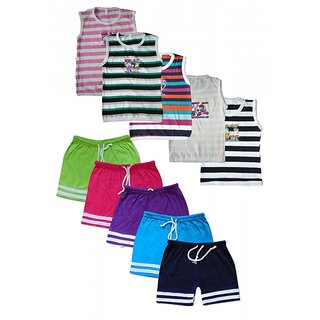 Jisha Fashion Cotton Multicolour SLBER Boys Slevless Tshirt + Bermuda Set ( Pack of 5 )