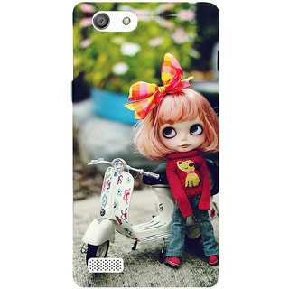 3D Designer Back Cover For Oppo Neo 7 A33 :: Cartoon Girl Standing With Scooter :: Oppo Neo 7 A33 Designer Hard Plastic Case (Eagle-033)