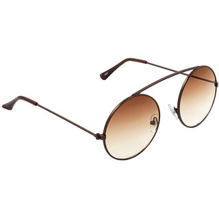 6by6 Brown UV Protection Unisex Round Sunglass