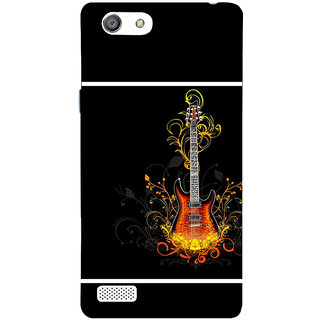 3D Designer Back Cover For Oppo Neo 7 A33 :: Guitar And Flowers :: Oppo Neo 7 A33 Designer Hard Plastic Case (Eagle-195)