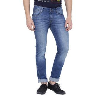 Wrangler Blue Mid Rise Slim Fit Jeans For Men