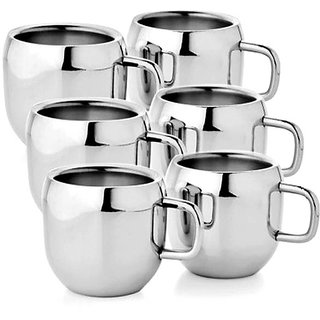 Meet Le Steel Tea Cup Coffee Set Of 6 Piece Sliver 100 Ml
