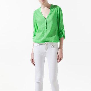 FloRida Egyptian Cotton Casual V Neck Long Sleeve Solid Green Shirt