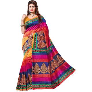 Glory sarees Multicolor Art Silk Self Design Saree With Blouse