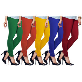 Cotton Lycra Free Size Leggings Assorted Color Set of 5