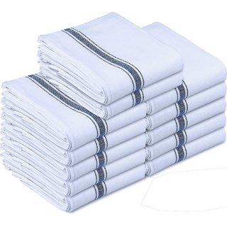 Kitchen Towels Dish Cloth (12 Pack) Machine Washable Cotton White Kitchen Dishcloths Towel Tea Towels