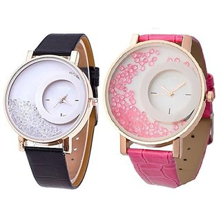 Om Designer Mxre Analogue Diamond White Dial Watch for Girls and Women Pack Of 2 (Black-Pink)