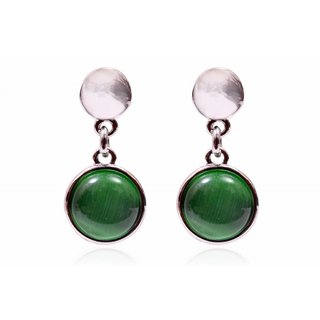 Trendy Baubles Green Catseye Metal Drop Earrings