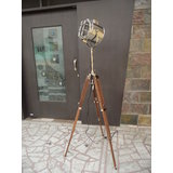 Halogen Floor Searchlight With Natural Wood Tripod Stand Adjustable Face Coever