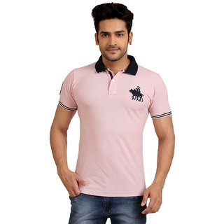 Goplay Pink Half Sleeve Polo Neck Tshirt For Men