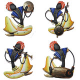Craftter Rajasthani Musician Blue-Set Of 4 - Wall Hanging