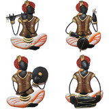 Craftter Rajasthani Musician Brown-Set Of 4 - Wall Hanging