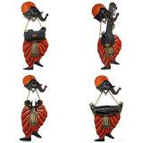 Craftter Ganesh Musician-Set Of 4 - Wall Hanging