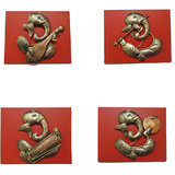 Craftter Wooden Ganesh Musician-Set Of 4 - Wall Hanging