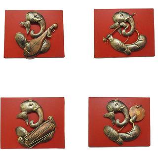 Craftter Wooden Ganesh Musician-Set Of 4 - Wall Hanging