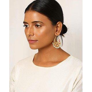 Meenakari Chandbali Hoop Earrings