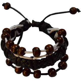 Men Style Genuine Design With Wooden Bead Black And Brown Leather Round Bracelet For Men and Boys