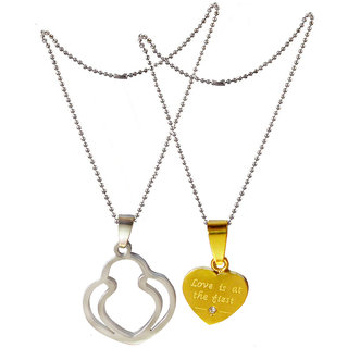 Men Style Valentines Gift for Her And His Romantic Couple True Love  Silver and Gold  Stainless Steel Heart Necklace Pendant For Men And Women
