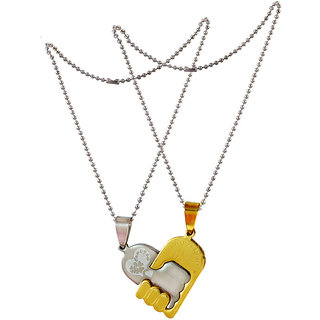 Men Style Boyfriend and Girlfriend Couples Love  Silver and Gold  Stainless Steel Heart Necklace Pendant For Men And Women