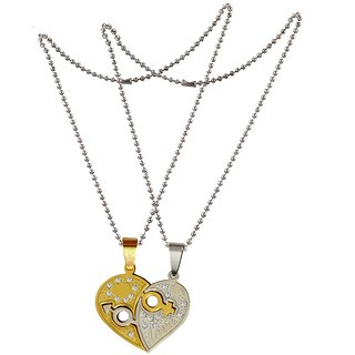 Men Style Couple Heart Shape  Silver and Gold  Stainless Steel Heart Necklace Pendant For Men And Women