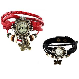 Set of 2 Fancy Vintage Red  Black Leather Bracelet Butterfly Watch for Girls  Women - Combo Offer