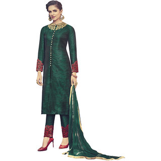 Heart N Soul Designer Wedding  Party Wear Fully Stitched Embroidery Designer Salwar Suits Dupatta XL size for Women (Green)