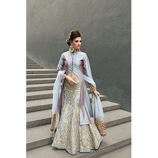 Fabliva Grey  Beige Embroidered Tapeta Anarkali Suit
