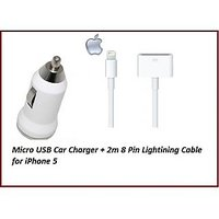 Apple Lightning 8 Pin USB Data Cable(2 Meter) - IPhone 5 Plus Micro USB Car Charger