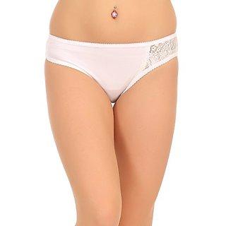 Clovia Mid Waist Bikini With Tone On Tone Lace Side Wings - White
