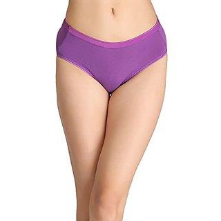 Clovia Cotton Mid-Waist Bikini With Shiny Elastic Band - Purple